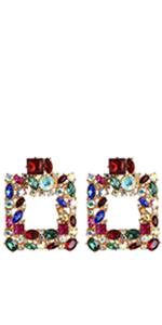 Colorful Rhinestone Square Geometric Drop Earrings KELMALL COLLECTION