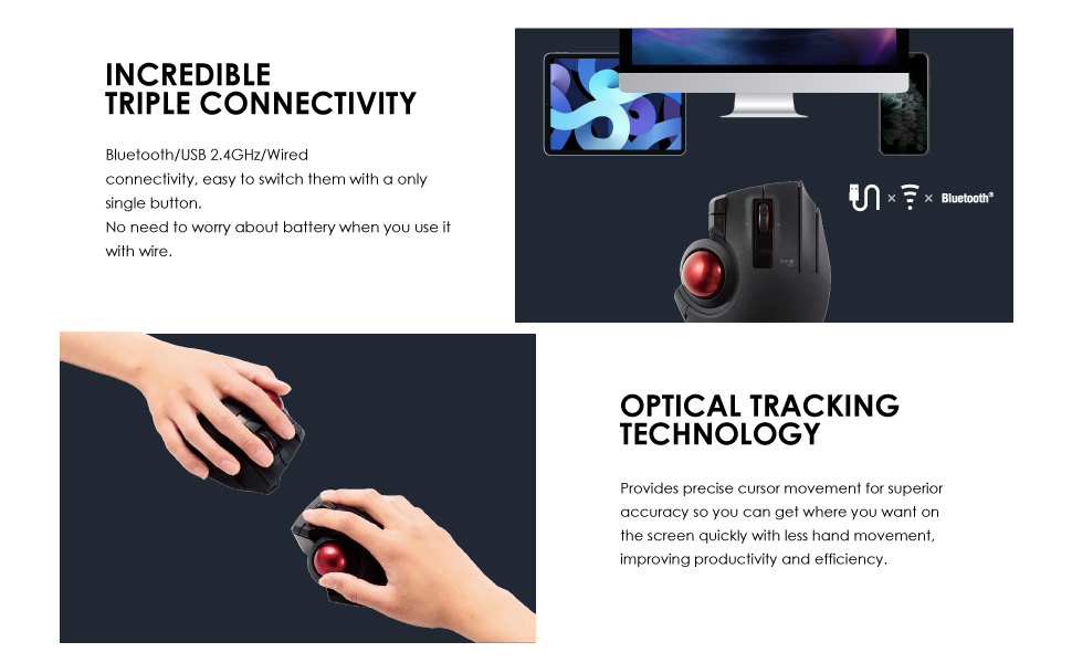 Precision Optical Gaming Sensor M-DT1URBK ELECOM Wired Finger-Operated Trackball Mouse EX-G Series 8-Button Function with Smooth Tracking