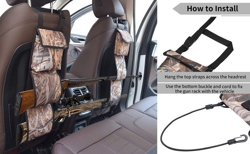 Details about  /Hunting Gun Sling Car Seat Back Gun Organizer for Rifle Hunting W//EXTRAS