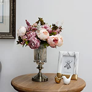 artificial pink peony flowers for wedding home decor