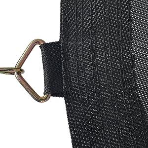 Gedetailleerde weergave van een meervoudig genaaid oogje op het springdoek voor maximale veiligheid en een lange grip.
