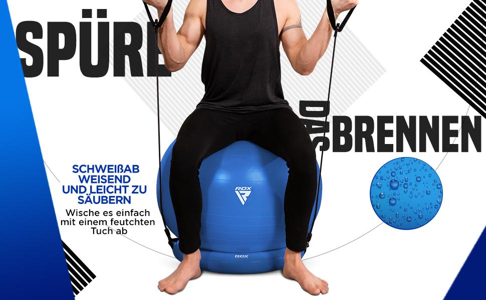 RDX Gymnastikball mit Widerstandsbänder Stabilitätsbasis, Extra Dicker Yoga Pezziball