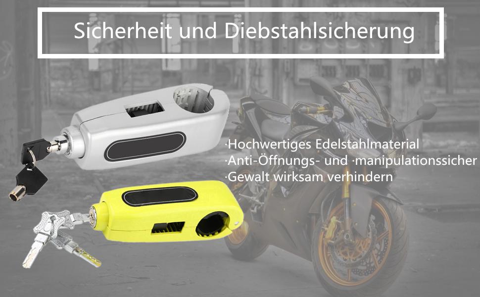Lenkerschloss Gelb Fydun Universal Motorrad Lenker Bremshebelschloss Gasgriff Diebstahlsicherung Schloss Sicherheitsschloss