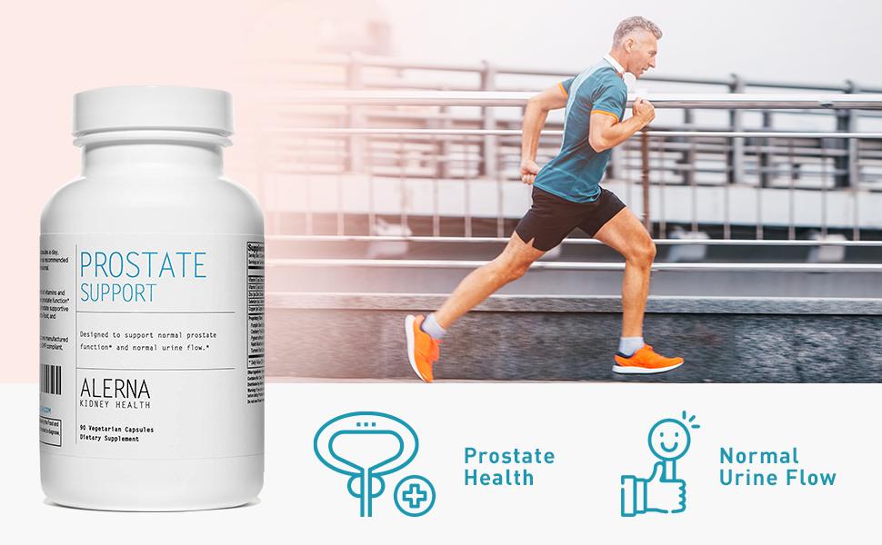 Prostate support health normal urine flow man running
