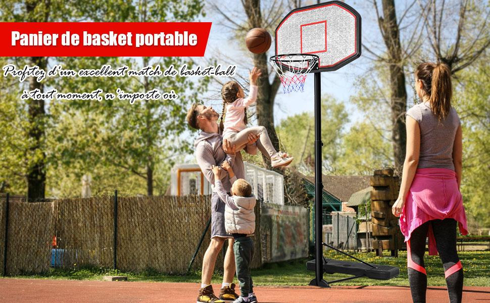 Costway Panier de Basket Anneau Suspendu de Basket-Ball avec Filet Fixation au Murale en Acier Int/érieur//Ext/érieur Diam/ètre du Anneau 46 CM Convient aux Adultes et aux Enfants