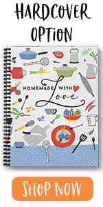 """hardcover, homemade with love, recipe, 8.5"""" x 11"""""""