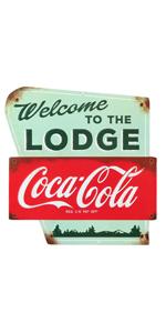 coca-cola lodge metal sign