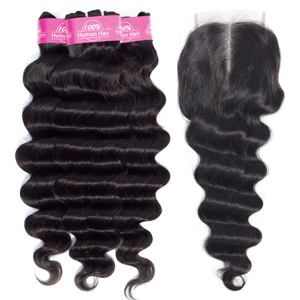 loose deep wave hair bundles with closure