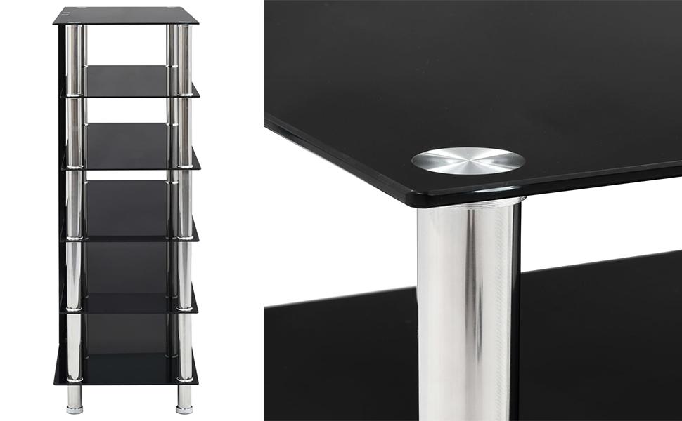 Festnight Mueble para Equipo HiFi de Vidrio Templado y Acero Inoxidable Negro 90 x 40 x 113 cm con 5 Estantes: Amazon.es: Hogar