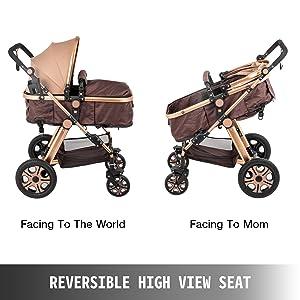 2 - VEVOR Baby Stroller 2 In 1 Stroller Bassinet Stroller Foldable Anti-Shock Newborn Stroller Baby Carriage Stroller Luxury Baby Trend Stroller Stroller For Baby Pram Stroller