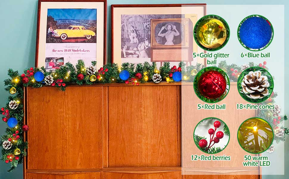 christmas garland with lights christmas decoration holiday indoor outdoor