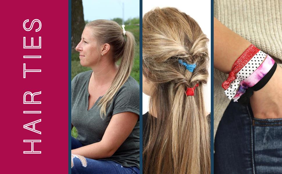 Kenz Laurenz hair ties elastic bands scrunchies spiral coils ribbon ponytail holders velvet fabric