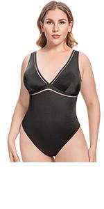Wingslove Women One Piece Swimwear Monokini Sexy Swimsuits Plunge Bathing Suit Plus Size
