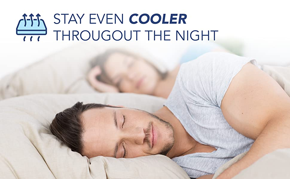 """Photo of a man and woman sleeping. Text above reads """"Stay even cooler throughout the night"""""""