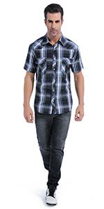 Men's Snap Button Short Sleeve Shirt