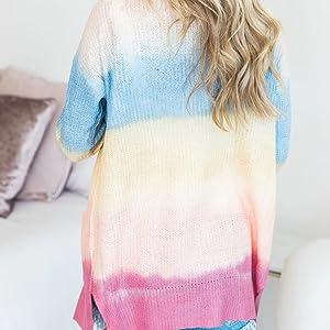 Long Sleeve Tie Dye Print Cardigan