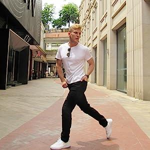black ripped jeans men distressed skinny designer biker slim fit rip stretch torn stylish tapered