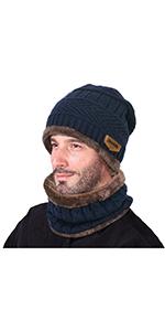 Gorras Con Bufanda y Gorros de punto Sombreros de Invierno Hombre