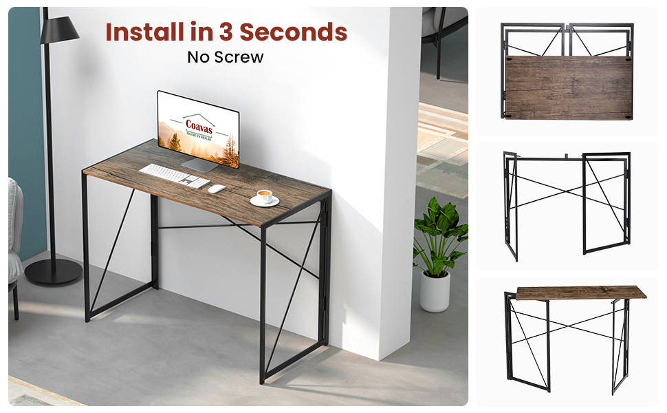 """Folding Desk No Assembly Required, 40"""" Writing Computer Desk Space Saving Foldable Table Simple"""