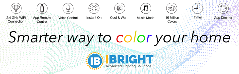 IBRIGHT, smart products, lighting, alexa & google assistant compatible, app features, voice control