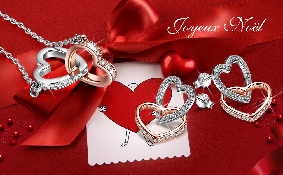 Kami Idea Boucles dOreilles Cadeaux Bijoux F/ête des M/ères Mon destin 3A Zircone Coeur /à Coeur Argent Sterling 925 Bo/îte /à Bijoux