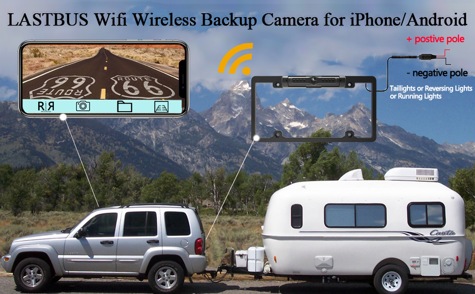 LASTBUS Wireless Backup Camera for iPhone Android Tablet