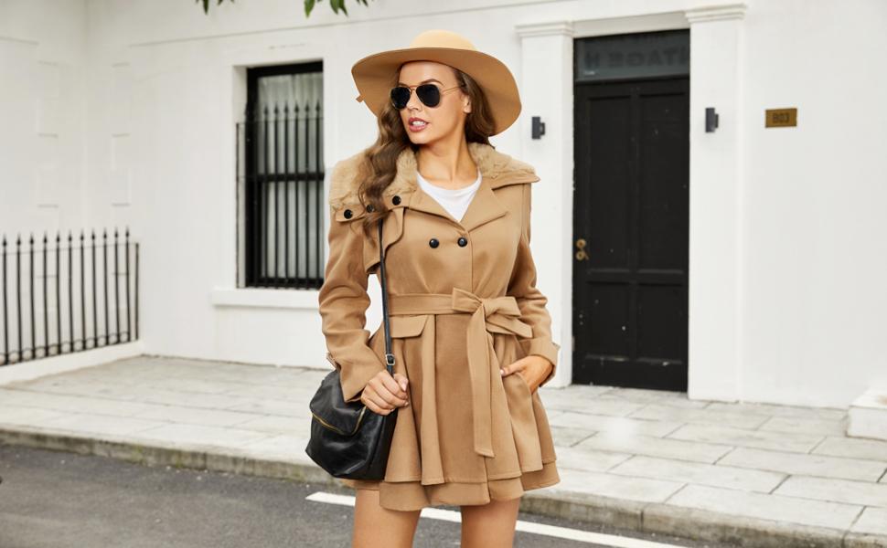 Inez 2 Winter Pleated Double Breasted Jacket For Women Wrap Midi Dress Coat