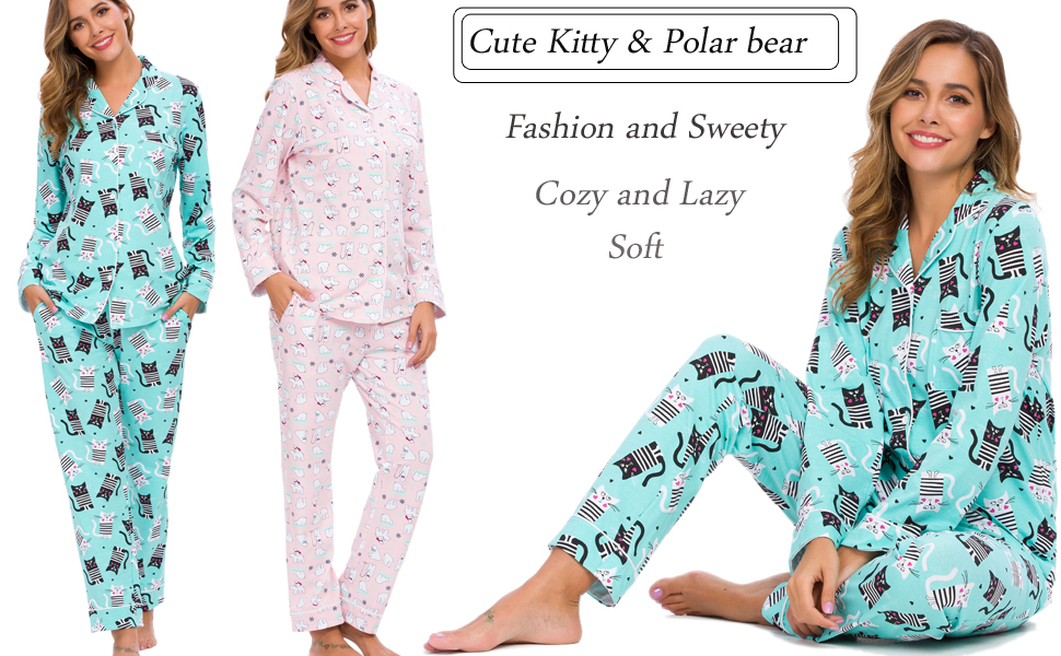 cat pajamas set for women