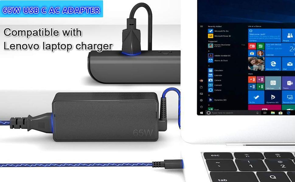 65W USB C Charger for Lenovo Thinkpad E480 E485 E490 E490S E495 20KN 20KU 20N8 20NG ADLX65YLC2A ADLX65YAC2A ADLX65YCC2A ADLX65YDC2A Type C Laptop ...