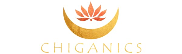 Chiganics logo with crescent moon and lotus flower health is wealth immune boosting keto pills hair