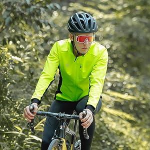 Lakaka Mens Thermal Cycling Jacket Long Sleeve Warm Windbreaker Winter Mountain Bike Jacket Breathable MTB Cycling Coat
