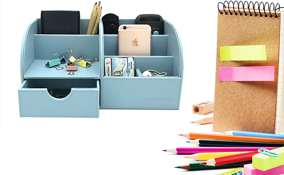 1pc Desk Organizer Box Multi-functional PU Leather Office Storage Pen Holder