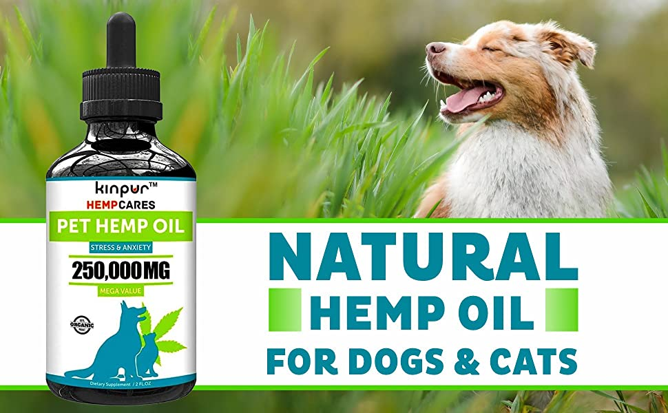 Kinpur (2 PACK | 500,000MG) Hemp Oil for Dogs & Cats - Anxiety Relief for Dogs & Cats - Pet Hemp Oil