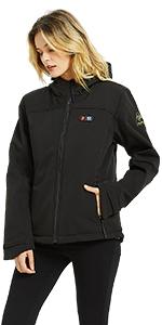 Women heated jacket soft shell