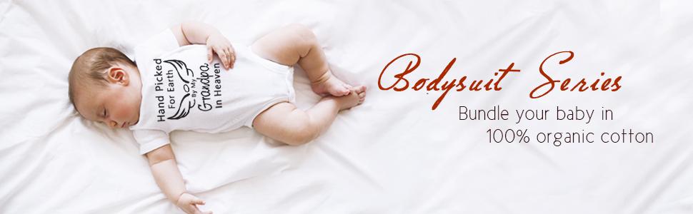 Amberetech Baby Romper Hand Picked for Earth by My Grandpa/Grandma in Heaven Baby Boys Girl Bodysuit