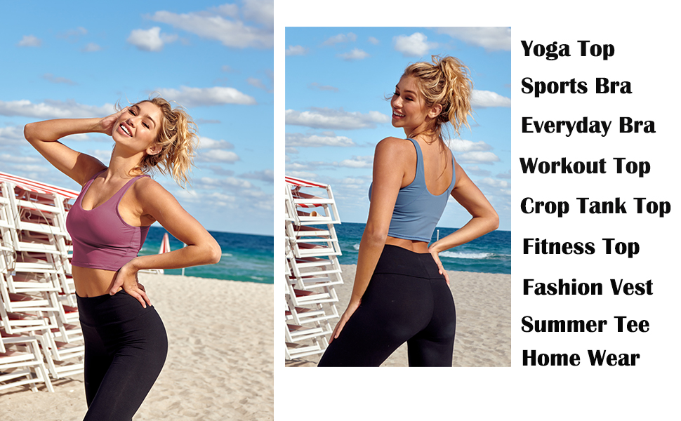 Women Crop Tank Tops Workout Longline Sports Bra Yoga High Impact Padded Support Gym Fitness Running