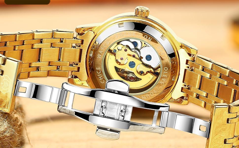 automatic mechanical luxury watch olevs skeleton