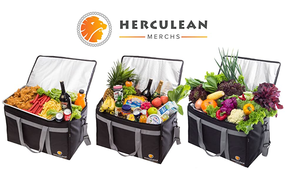 Herculean Merch Food Hot Grocery Meat Frozen Cold Warm Drink Insulated Food Bag Delivery Commercial