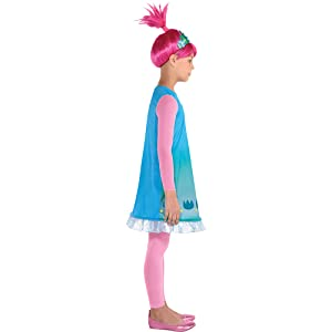 Poppy Trolls Glitter Costume /& Pink Wig with Headband Deluxe Party Dress Girl