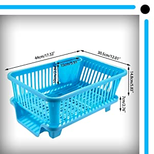 Dish Rack Drainer Drying Rack Washing Basket with Tray for Kitchen, Dish Rack Organizers, Utensils