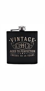 vintage etched black stainless steel flask