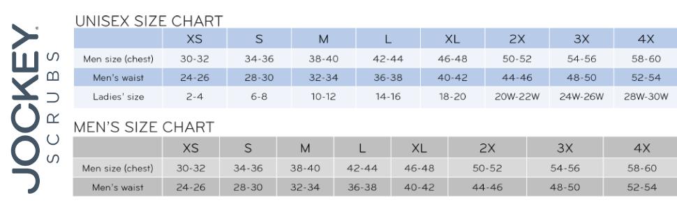 jockey scrub womens and unisex size chart