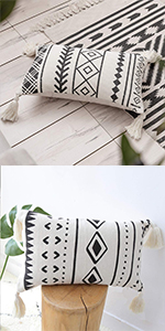 boho pillow cover tassels cotton woven cute accent