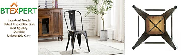 BTExpert Metal Golden Black Distressed Chic Indoor Outdoor Stackable Bistro Cafe Dining Side Chairs Set of 4