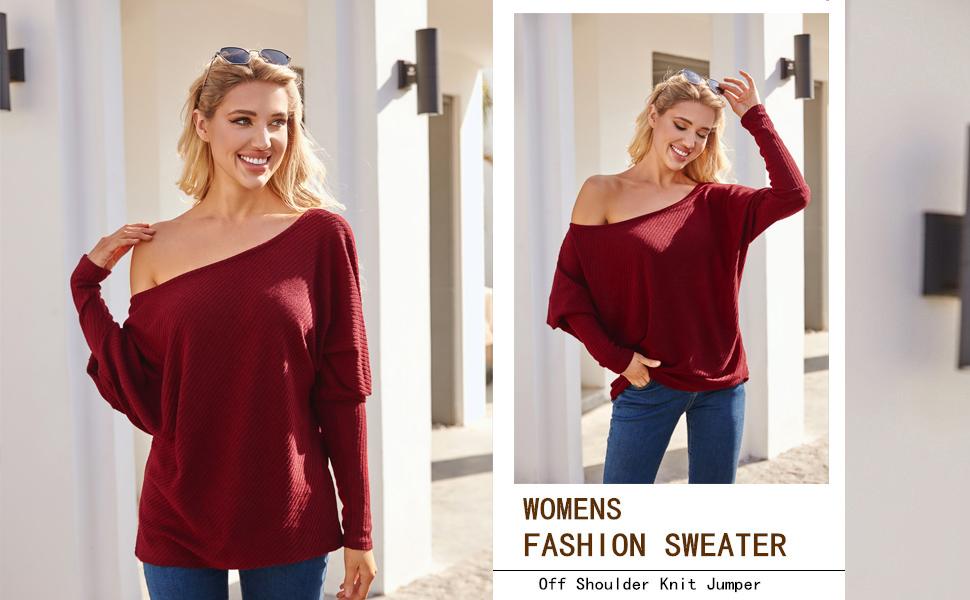 Beyove Womens Off Shoulder V-Neck Criss Cross Backless Sweater Batwing Sleeve Pullover Knit Jumper S-XXL