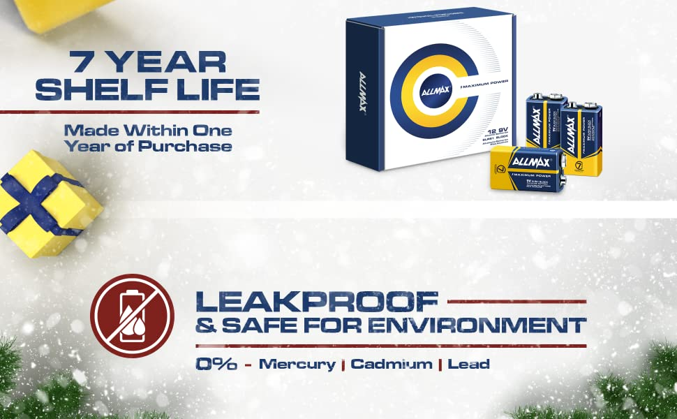 7 years in storage, leak proof, safe for environment battery