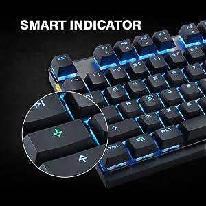 EasySMX Teclado Mecánico Inalámbrico para Juego, [Regalos] 2.4G Teclado Inalámbrico Gaming PC, Keyboard Gaming Wireless 87 Botones para Oficina y ...