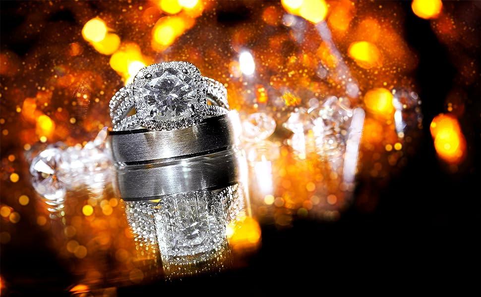 FlameReflection Wedding Ring Set