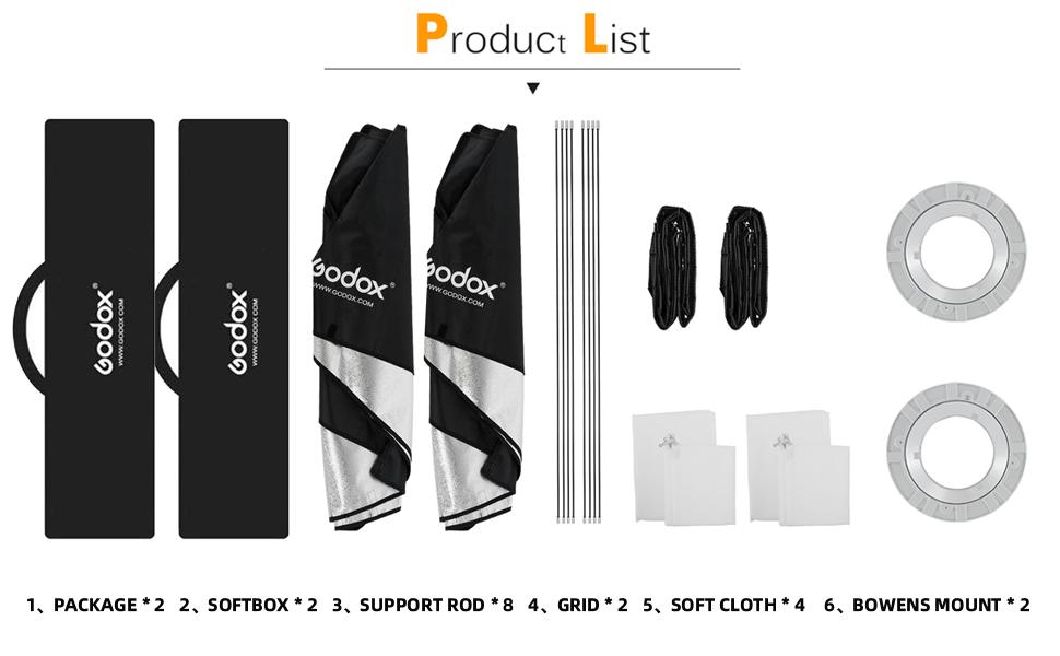 Godox 2 X Rectangle Softbox Honeycomb Grid 30 X 120cm Camera Photo