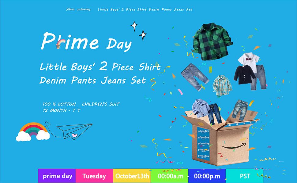 Little Boys' 2 Piece Long Sleeve Plaid Shirt Denim Pants Jeans Set Casual Toddler Boy Outfit Set